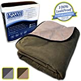 LovingBlanket 100% Waterproof, 3 Layer Blanket (Large 80'x60', Chocolate Brown/Light Mocha)
