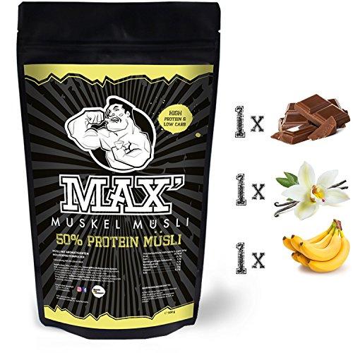MAX MUSKEL MÜSLI Protein Müsli Low Carb ohne Zucker-Zusatz & Nüsse - Müsli wenig Kohlenhydrate viel Eiweiss Sportlernahrung für Muskelaufbau & Abnehmen 3er Set Beutel Schoko, Vanille, Banane