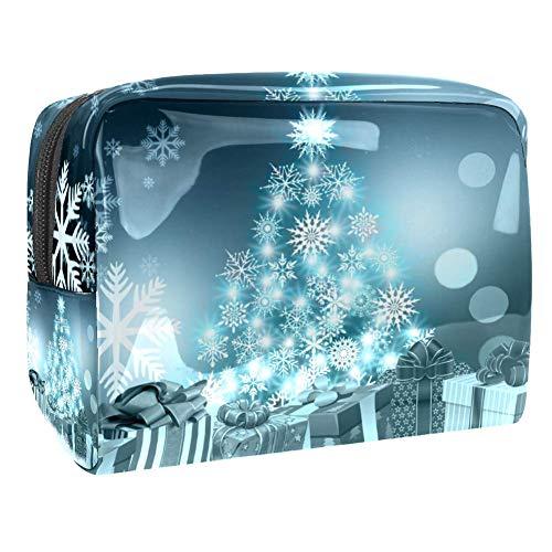 Makeup Bag Light Green Snowflake Christmas Tree Travel Toiletry Bag Makeup Organizer Case Large Capacit Waterproof 7.3x3x5.1in