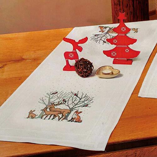 Kamaca Stickpackung Waldtiere Kreuzstich vorgezeichnet aus 100% Baumwolle zum Selbersticken (Tischläufer 40x100 cm)