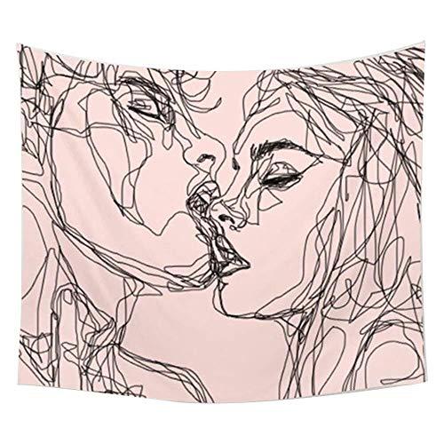 Women/men Kissing Tapestry Wall Hanging Pink Decor Line Art Home Decor/Lovely Bedroom Living Room Dorm Wall Hanging Tapestry Beach Throw(RB-K-1)(W:59'H:51')