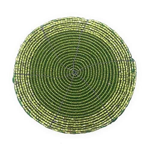 Perlen-Untersetzer, 6-teiliges Set, 10 cm, grün