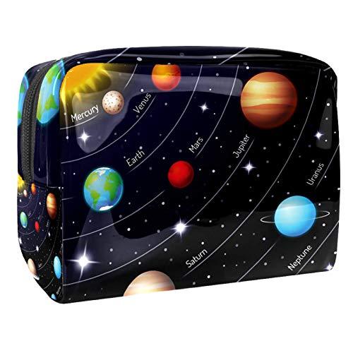 Bolsas de Maquillaje Estuche multifunción para Organizador de Bolsas de cosméticos de Viaje portátil Sistema Solar Cielo Nocturno y Estrellas con Neceser con Cremallera para Mujer