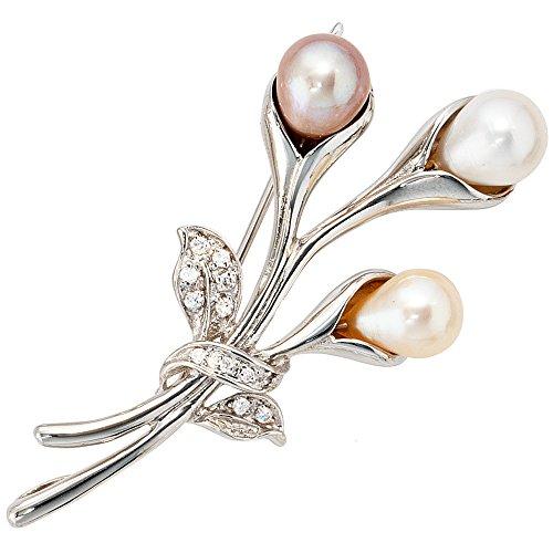 JOBO Damen-Anhänger aus 925 Silber mit Perlen und Zirkonia