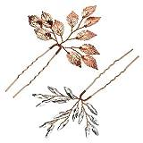 4 Haarnadeln für Hochzeit, Gast, Haar-Accessoires für Frauen, Hochzeits-Haarspangen, Silber (Roségold)
