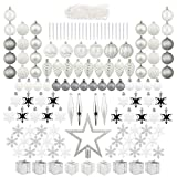 143pcs Silver and White Christmas Tree Decoration Ornaments Set Shatterproof for Xmas Tree Including Star Tree Topper Balls Icicle Pine Cones Beaded Garland Snowflakes