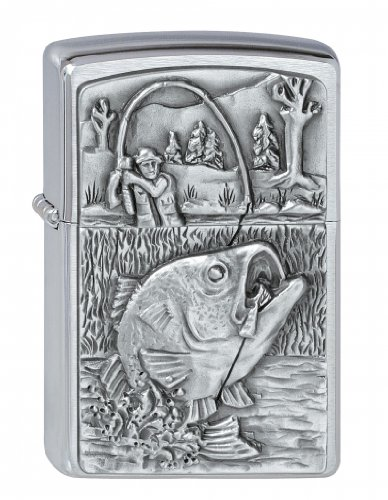 Zippo Zippo Feuerzeug 2000407 Bass Fishing Emblem Benzinfeuerzeug, Messing Chrome