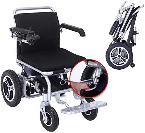 Lujo plegable sillas de ruedas eléctricas portátiles eléctricas, silla de ruedas plegable portátil (con dos baterías), sillas de ruedas eléctricas, sillas de ruedas eléctricas potentes bis,Black