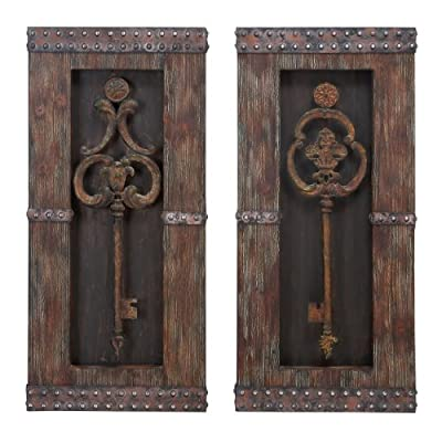 Urban Designs 2 Piece Vintage Metal Keys Wall Art Decor Set, Brown from Urban Designs