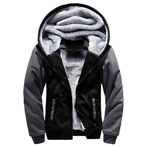 Herren Winterjacke,Moonuy Herren Boy M-5XL Hoodie Winter Warm Fleece Reißverschluss Pullover Charme stilvolle Jacke Patchwork Hot Outwear Baumwollmantel in grau, rot, schwarz (Schwarz, L)
