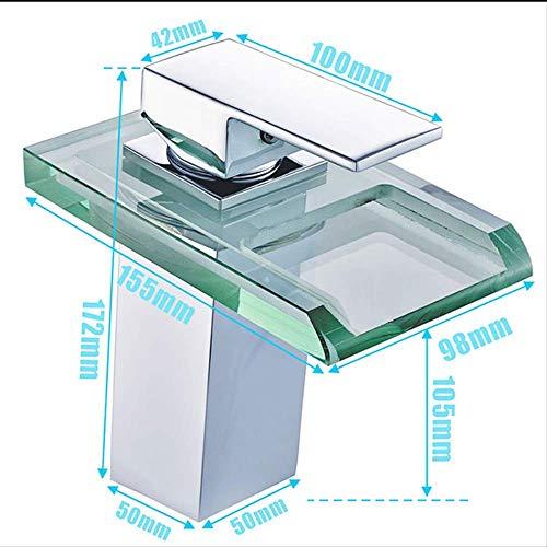 Led Basin Kraan Messing Waterval Temperatuur Kleuren veranderen Badkamer Mixer Tap Deck Gemonteerd Wassen Spoelbak Glazen Taps