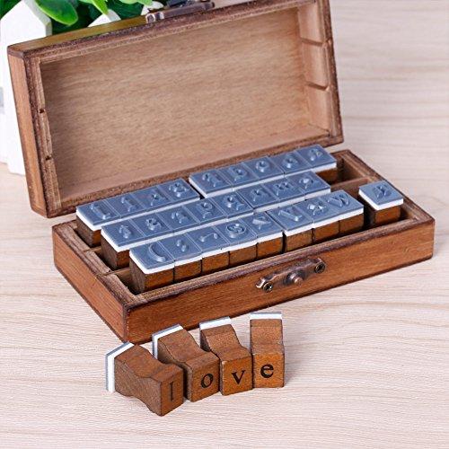 Runrain rétro Lettre de l'alphabet majuscules minuscules en bois Ensemble de tampons en caoutchouc Craft Lot de 30