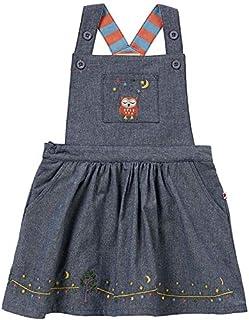 Piccalilly Robe piñafore en chambray bleu pour fille, coton bio, détails brodés hiboux