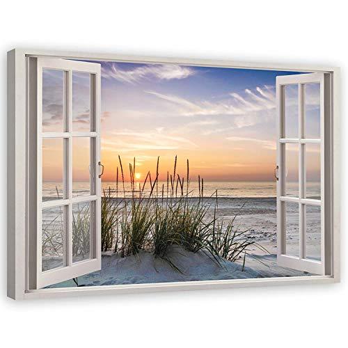 Feeby Leinwandbild XXL 120x80 cm Fenster-Illusion Fensterblick Wandbild Wanddekoration Deko Kunst Kunstdruck Fenster Meer Strand Sonnenuntergang Beige