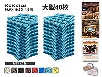 エースパンチ 新しい 40ピースセットライトブルー 500 x 500 x 50 mm 半球グリッド 東京防音 ポリウレタン 吸音材 アコースティックフォーム AP1040