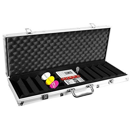 Nexos Pokerkoffer LEER für bis zu 500 Poker Chips inkl. Poker Zubehör mit 2 Set Pokerkarten 5 Würfel Dealer Button Blinds Deutscher Anleitung