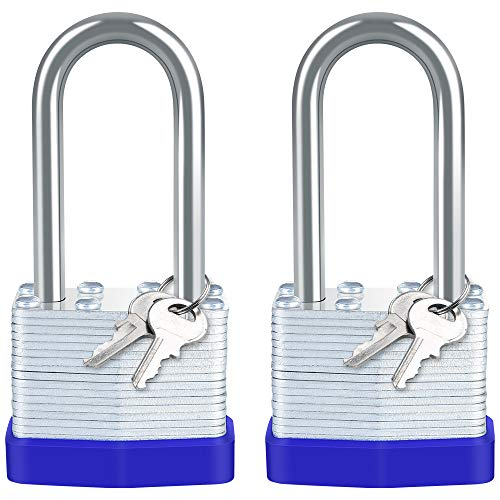 Keyed Padlocks, [2 Pack] Diyife Long Shackle Padlocks, Heavy Duty Laminated Steel Key Padlock Keys Alike Suitable for Storage Units, Gym Locker, Shed, Garage, Fence