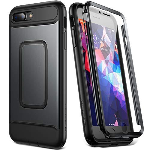 YOUMAKER iPhone 8 Plus Hülle, iPhone 7 Plus Hülle, Ganzkörper mit integrierter Bildschirmschutzfolie Hochleistungsschutz Stoßfestes Slim Fit Cover für iPhone 8 Plus / iPhone 7 Plus 5,5 Zoll-Schwarz