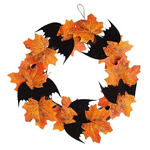 HAOJON Guirnalda de otoño Decoraciones para guirnaldas de Puertas de Halloween, Guirnalda de Navidad Artificial con Bayas de Calabaza Cono de Pino Hojas de Arce Puerta de Entrada Jardín Boda Decora
