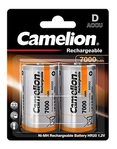 Camelion 17070220 - Akku NiMH Batterie Mono / R20 / D mit 1,2 Volt, 2 Stück, Kapazität 7000 mAh, wiederaufladbar, für verschiedenste Geräte- und Verbraucheranforderungen