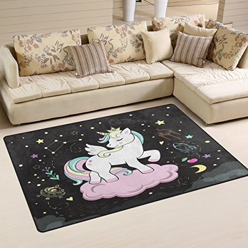 Use7 - Alfombra Antideslizante para Dormitorio Infantil, diseño de Unicornio, Tela, 100 x 150 cm(3' x 5' ft)