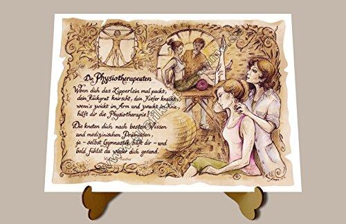 Die Staffelei Geschenk Physiotherapie Physiotherapeut Zeichnung Color 30 x 21 cm mit Aufsteller
