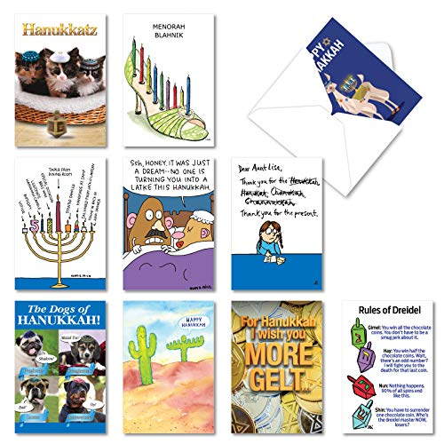 NobleWorks - 10 Assorted Funny Hanukkah Cards - Boxed Cartoons, Menorah, Gelt Cards with Envelopes - Hanukkah Humor AC3435HKG-B1x10