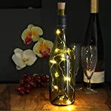 com-four® 6X Luz de Botella LED - Cadena de luz de Corcho para Botellas de Vino - Mini Luces LED con batería - Luz de Estado de ánimo en Blanco cálido (06 Piezas)