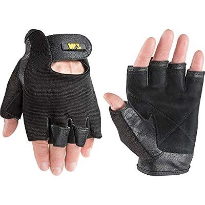Men's Goatskin Leather Palm Fingerless Work Gloves, Extra Large (Wells Lamont 845), Black
