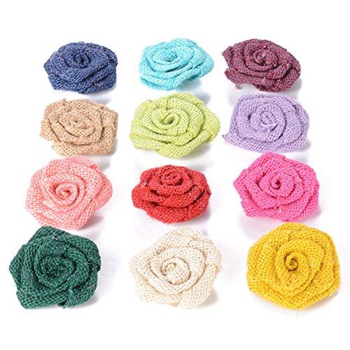"Advantez 12 Pack 2.4"" Burlap Rose Flowers for Weddings DIY Handmade Decorative Hair Accessories Scrapbooking Crafts"