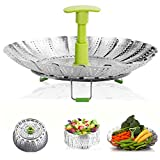 Electomania® 14.4 inch Steamer Basket for Cooking,Folding Steamer Insert for Veggie Fish Seafood Cooking,Expandable to Fit Various Size Pot