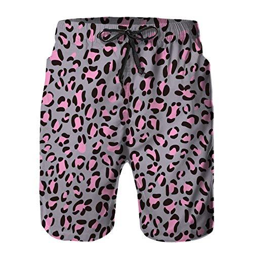Hombres Verano Secado rápido Pantalones Cortos Playa Textura de Leopardo Rosa Gris impresión Trajes de baño Correr Surf Deportes-M