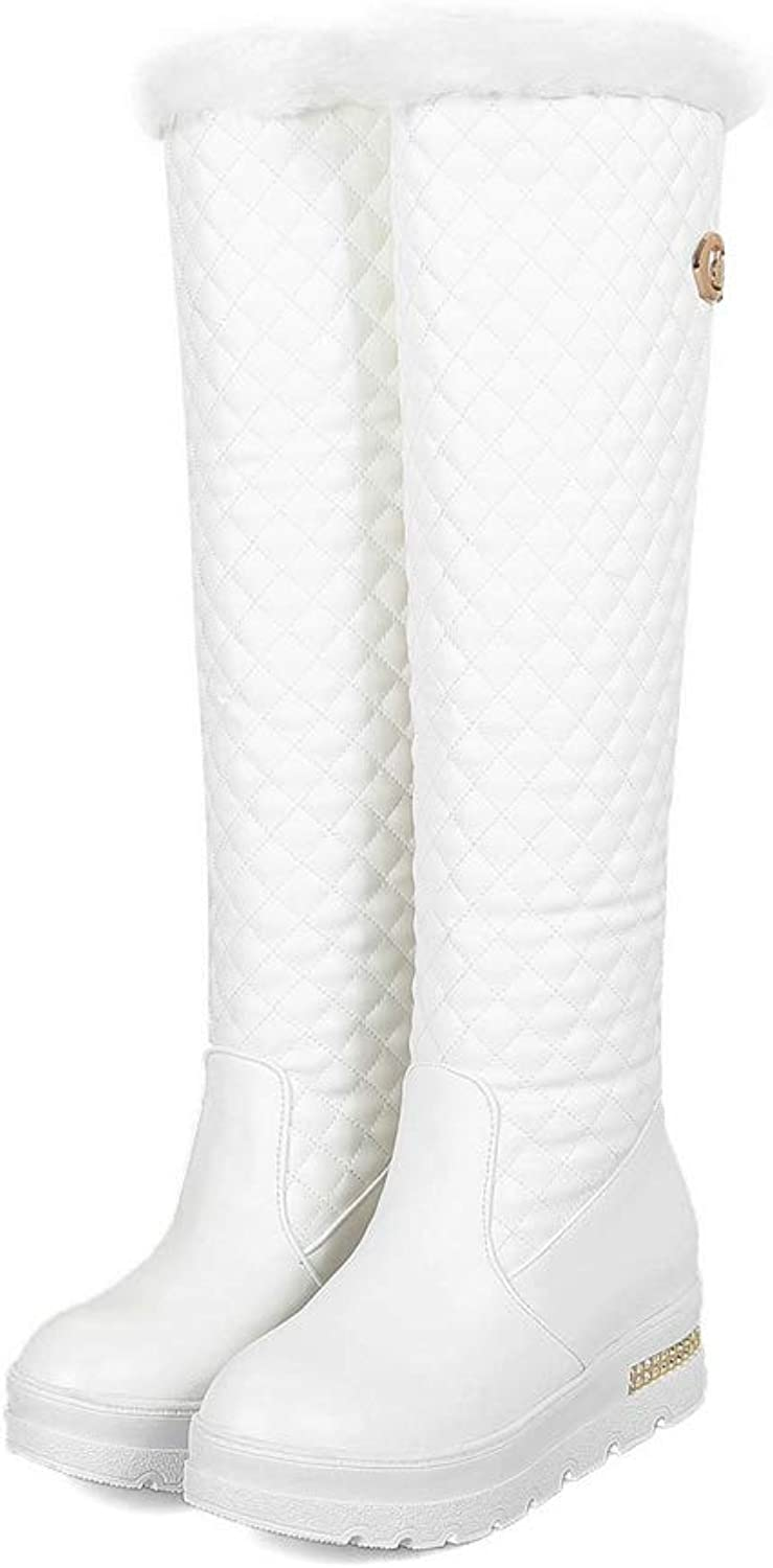 Womens Boots Simple Winter Warm Snow Boots Long Boots Knee High Boots (Black White)