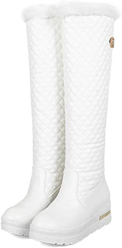 DANDANJIE Bottes de Femmes Simple Hiver Chaud Bottes de Neige Longues Bottes Genou Haute Bottes (Noir Blanc),blanc,42EU