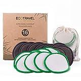 Disques démaquillants | 16 coussinets d'oreille réutilisables | Fabriqué en fibre de bambou de coton biologique | Démaquillant pour le visage | peau sensible