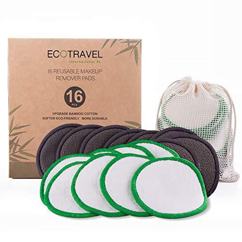 Reinigungspads aus umweltfreundlicher Baumwolle und weichen Bambusfasern. 16 umweltfreundliche, widerstandsfähige, waschbare Pads für Wäsche und Transport. Für alle Hauttypen geeignet.