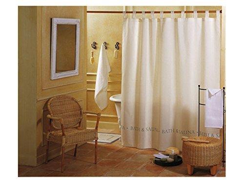 GELCO Textil-Duschvorhang in Spitzenqualität - 180x200 cm - maschinenwaschbar - verstärkte Ösen - beschwerter Saum - Design-Duschvorhang Made in France ('Bath und Sauna' - beige)