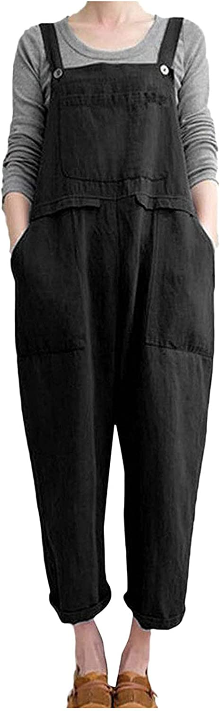 Pyhlmscde Women Jumpsuit Playsuit Romper Elegant Summer Overall Solid Color Long Pants Baggy Trouser with Pocket