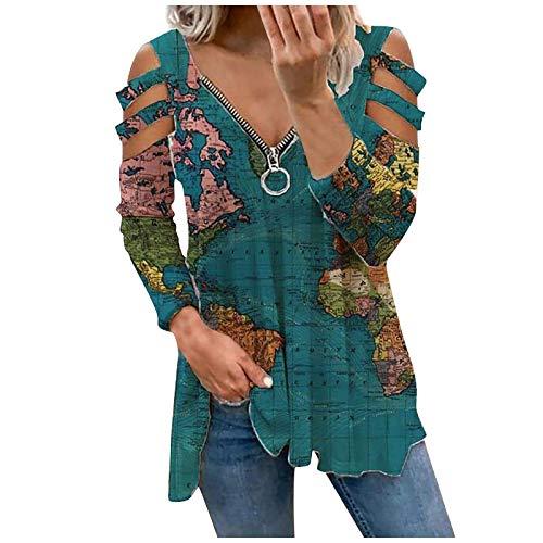 Damen Sommer Bluse T Shirt Elegant Vintage Oberteile Kurzarm Kalte Schulter sexy V-Ausschnitt Reißverschluss Bluse Pullover Sweatshirt für Frauen Teenager Mädchen Streetwear Tunika Tops