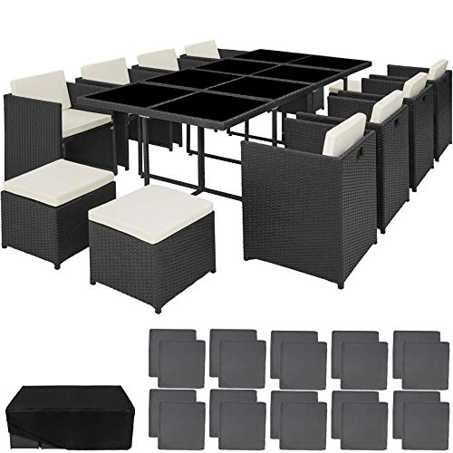 TecTake 800674 Polyrattan Aluminium Sitzgruppe für bis zu 12 Personen, wetterbeständig, 8 Sessel 4 Hocker 1 Tisch mit Glasplatten, Würfelsystem, inkl. 2 x Bezüge & Schutzhülle (Schwarz | Nr. 403089)