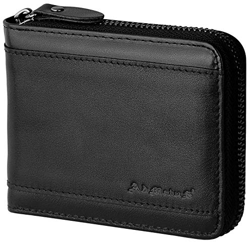 Wallet for Men Zipper Leather Wallet for Men Bifold RFID Blocking Card Holder