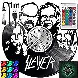 Slayer RGB LED Pilot Reloj de pared para mando a distancia, disco de vinilo moderno decorativo para regalo de cumpleaños