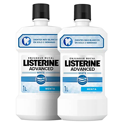 Listerine Dental Avanzado con Blanqueador, Enjuague Bucal, Pack 2 x 1000 ml