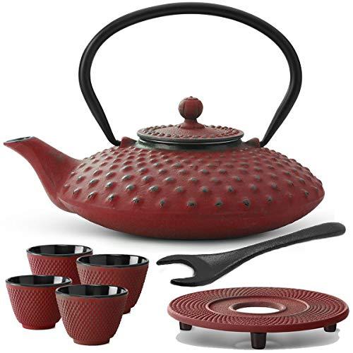Bredemeijer rote asiatische Teekanne 0.8 L Gusseisen Set mit Tee-Filter-Sieb Untersetzer Teebecher (4 Tassen) & Deckelheber