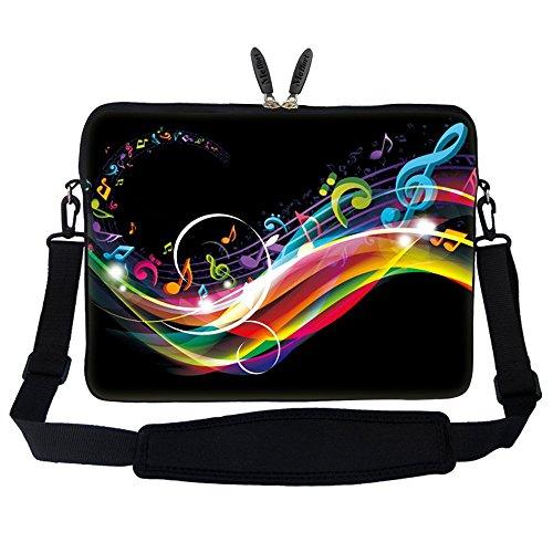 Meffort Inc 17 17.3 inch Neoprene Laptop Sleeve Bag Carrying Case with Hidden Handle and Adjustable Shoulder Strap - Rainbow Music Note