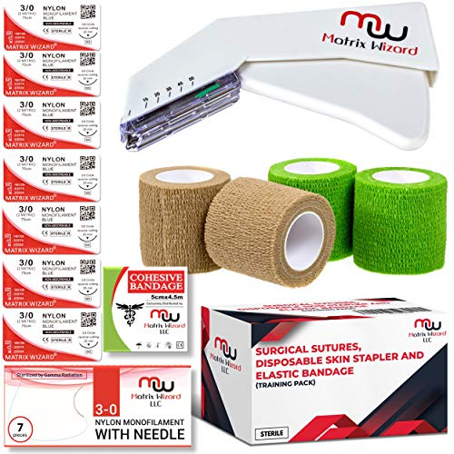 Sterile Suture Thread with Needle, Disposable Skin Stapler, Self Adhesive Bandage Wrap Tape (Combo Pk) - First Aid Demo,Emergency Survival Drill, Camping Preparedness, MD Trauma Training (3/0 w Tools)
