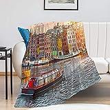Promini Manta de canal horizontal en Ámsterdam Países Bajos Casas River Amstel para todas las estaciones, cálida y ligera, manta de franela antipilling para cama, sofá