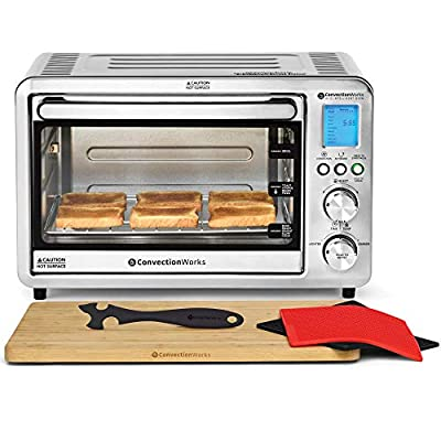 ConvectionWorks Hi-Q Intelligent Countertop Oven Set, 6-Slice Compact Convection Toaster, w/ Bamboo Cutting Board & Silicone Rack Handle (10 Accessories, Rotisserie & Spit Included), 1500 Watt, Stainless Steel, Teflon-free (Silver)