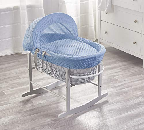 Kinder Valley Blue Dimple Grey Wicker Moses Basket with Grey Rocking Stand, Adjustable Hood, Mattress and Padded Liner