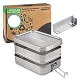Edelstahl Brotdose 1400ml Lunchbox Edelstahl Dichte Metall Brotdose mit Trennwand Bento Box Edelstahlmit 2 Fächern ohne Plastik & BPA Brotbox für Kinder und Erwachsene